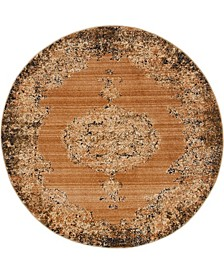 """Thule Thu2 Light Brown 4' 5"""" x 4' 5"""" Round Area Rug"""