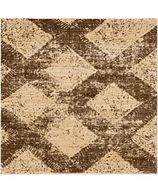 """Thule Thu4 Brown 4' 5"""" x 4' 5"""" Square Area Rug"""