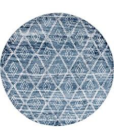 "Levia Lev2 Dark Blue 8' 4"" x 8' 4"" Round Area Rug"