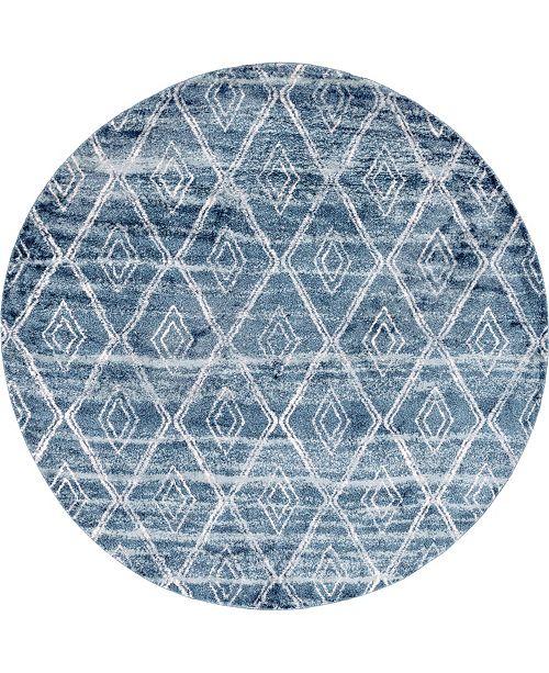 "Bridgeport Home Levia Lev2 Dark Blue 8' 4"" x 8' 4"" Round Area Rug"