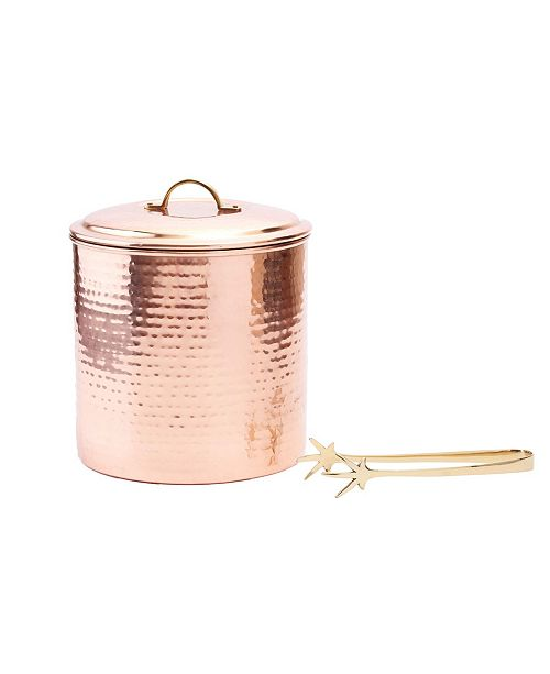 Old Dutch International Hammered Decor Copper Ice Bucket with Tongs, 3-Quart
