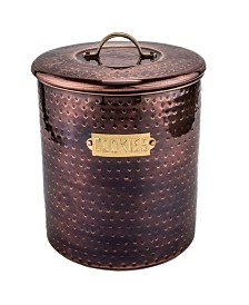 Old Dutch International Hammered Antique Copper Cookie Jar with Fresh Seal Cover, 4-Quart