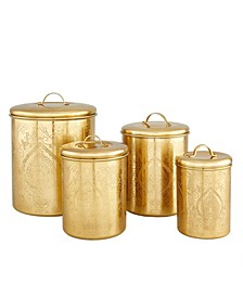 International Tangier Champagne Etched Canisters, Set of 4