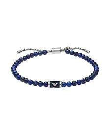 Emporio Armani Men's Beaded Lapis Lazuli and Blue Nylon Cord Slider Bracelet