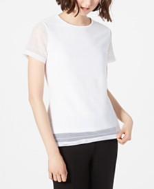 Calvin Klein Short-Sleeve Textured Stripe Top