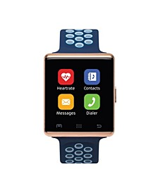 Air 2 Smartwatch 41mm Rose Gold Case with Navy and Light Blue Perforated Strap
