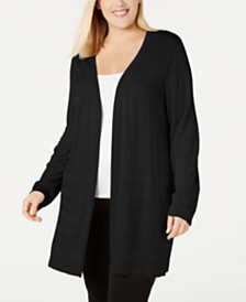Calvin Klein Plus Size Textured-Stripe Long Cardigan Sweater