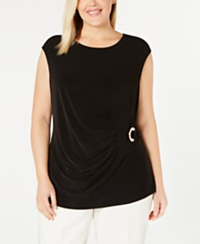 Calvin Klein Plus Size Ring-Trim Side-Ruched Top