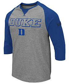 Colosseum Men's Duke Blue Devils Team Patch Three-Quarter Sleeve Raglan T-Shirt