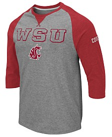 Colosseum Men's Washington State Cougars Team Patch Three-Quarter Sleeve Raglan T-Shirt