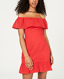 Juniors' Off-The-Shoulder Eyelet Dress