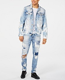 Men's Ripped Denim Jeans & Bleached Denim Jacket