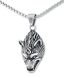 "Men's Wolf Head 24"" Pendant Necklace in Stainless Steel"