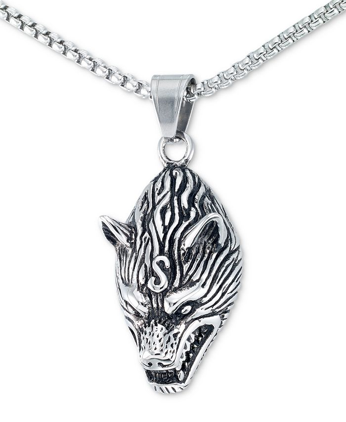 """LEGACY for MEN by Simone I. Smith - Men's Wolf Head 24"""" Pendant Necklace in Stainless Steel"""
