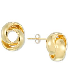 Signature Gold Diamond Accent Love Knot Stud Earrings in 14k Gold Over Resin, Created for Macy's