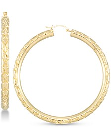 Diamond Accent Textured Hoop Earrings in 14k Gold Over Resin, Created for Macy's
