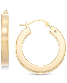 Diamond Accent Polished Round Hoop Earrings in 14k Gold Over Resin, Created for Macy's