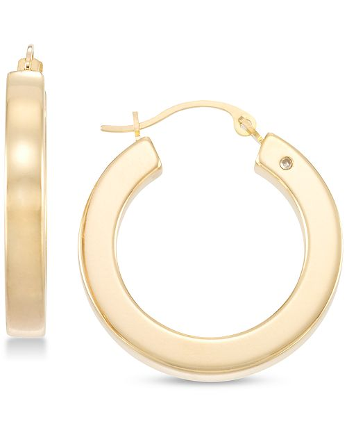 Signature Gold Diamond Accent Polished Round Hoop Earrings in 14k Gold Over Resin, Created for Macy's