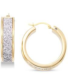Diamond Accent Glitter Hoop Earrings in 14k Gold Over Resin, Created for Macy's