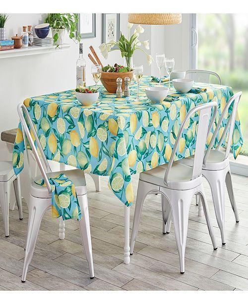 "Elrene Lemon Grove Stain Resistant Indoor Outdoor 60"" x 84"" Tablecloth"