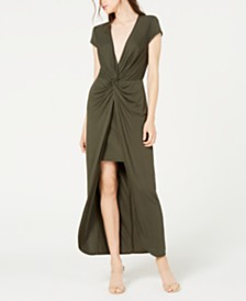 City Studios Juniors' Twist-Front High-Low Maxi Dress