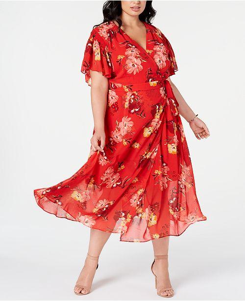 Vince Camuto Trendy Plus Size Floral-Print Maxi Dress ...