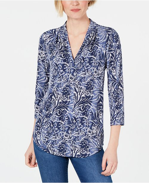 Charter Club V-Neck Printed Three-Quarter-Sleeve Top, Created For Macy's