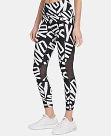 DKNY Sport Logo-Print Mesh-Trimmed Leggings