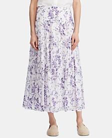 Lauren Ralph Lauren Floral-Print Tiered Voile Peasant Skirt