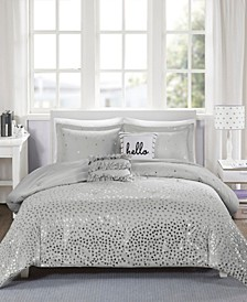 Zoey King/California King 5-Pc. Metallic Triangle Print Comforter Set