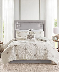 Malia King/California King 4 Piece Embroidered Cotton Reversible Duvet Cover Set