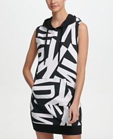 DKNY Sport Logo-Print Sleeveless Hoodie Dress