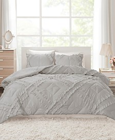 Intelligent Design Kacie Twin/Twin XL 2 Piece Solid Coverlet Set With Tufted Diamond Ruffles