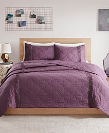 CLOSEOUT! Shyla Full/Queen 3 Piece Solid Coverlet Set With Fringe