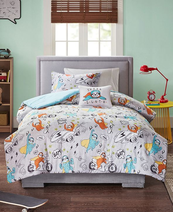 Mi Zone CLOSEOUT! Raff Full/Queen 4 Piece Sloth Printed Comforter Set