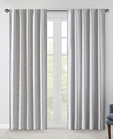 "Ebon 38"" x 95"" Woven Heathered Total Blackout Curtain Panel Pair"