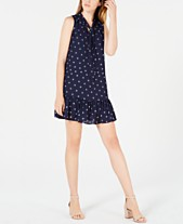 953ccd8fe389 Maison Jules Printed Ruffle Tie-Neck Dress, Created for Macy's