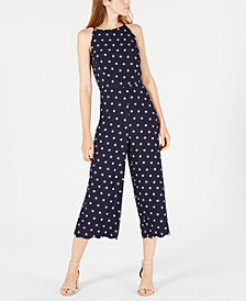 Maison Jules Printed Scalloped Halter Jumpsuit, Created for Macy's