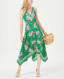 Floral Handkerchief-Hem A-Line Dress