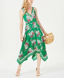 Vince Camuto Floral Handkerchief-Hem A-Line Dress