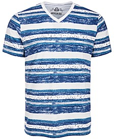 Men's V-Neck Striped Speckled T-Shirt, Created for Macy's
