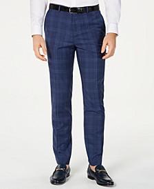 HUGO Hugo Boss Men's Slim-Fit Open Blue Check Suit Pants
