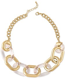 "RACHEL Rachel Roy Gold-Tone & Acrylic Large-Link Collar Necklace, 18"" + 2"" extender"