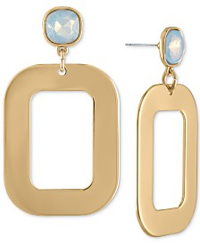 RACHEL Rachel Roy Gold-Tone & Crystal Square Drop Earrings
