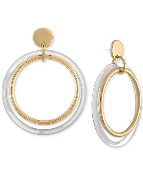 RACHEL Rachel Roy Two-Tone Double Circle Drop Earrings