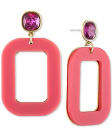 RACHEL Rachel Roy Gold-Tone Crystal & Square Drop Earrings