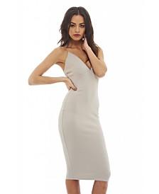 AX Paris Deep V Front Elasticated Straps Midi Dress