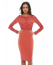 Crochet Mesh Top Bodycon Dress