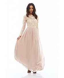 Long Sleeved Lace Maxi Dress