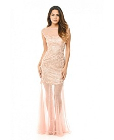 Sequin Bodice Chiffon Maxi Dress